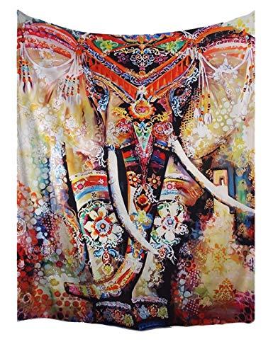 """A.Monamour Tapices Bohemio Floral Elefante Indio Hippie Mandala Psicodélico Tatuaje Marrón Moteado Impresión Tela Tapicería Pared Colgar Decoraciones para Dormitorios 229x153cm / 90""""x60"""""""