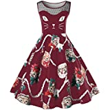 Women Dress New Hot Sale Fashion Christmas Vintage Cat Printing Sleeveless Party Dress Ladies Swing Lace Dress By Neartime (XL, Wine Red)