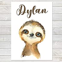 Baby Sloth Print, Cute Personalised Animal Print for Kids, A4 or A3