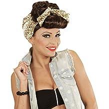 Amakando Peluca Rockabilly de Mujer Pelo postizo Chica Pin Up marrón Cabellera rocanrol Accesorio Outfit Disfraz