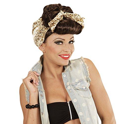 Amakando Rockabilly Perücke Damen Pin Up Girl Damenperücke braun 50er 60er Jahre Frauenperücke 50s 60s Faschingsperücke Kostüm Outfit Zubehör Fastnacht Rockabella ()
