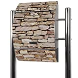 BANJADO Edelstahl Briefkasten groß, Standbriefkasten freistehend 126x53x17cm, Design Briefkasten mit Zeitungsfach Motiv Alte Mauer