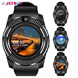 JSTBUY-Original-V8-Round-Touchscreen-Bluetooth-Smartwatch-Compatible-with-Android-iOS-and-All-3G-4G-Mobile-Phones-Wrist-Watch-with-Camera-and-Sim-Card-Support--Black-