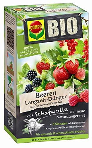 COMPO BIO Beeren Langzeit-Dünger mit Schafwolle, einzigartiger, rein organischer Naturdünger für alle Beerenpflanzen und -sträucher, sowie Kern- und Steinobst, 2 kg