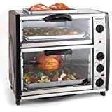 oneConcept All-You-Can-Eat horno doble con parrilla (2400W, capacidad 42 litros, parrilla en la parte superior, temperatura ajustable, pincho giratorio, acero inoxidable) - plateado