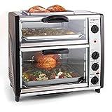 oneConcept All-You-Can-Eat • forno • forno elettrico • piastra per griglia sulla parte superiore • 2 camere di cottura • volume 42 litri • potenza 2400 W • Temperatura: 60-240°C • 2x Timer • argento
