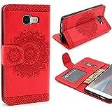 URCOVER® Mandala Pattern Case Wallet | Samsung Galaxy A5 2016 | Flip Cover Simil cuir in Rouge | Peau Coque Portefeuille Clapet Stand Rabat Élegant Étui Protection Portable