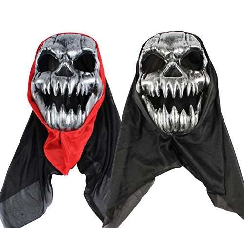fel Maske Scary Kunststoff Maske Masquerade Kleid Party Full Face Maske Erwachsene Cosplay Prop für Bar Party, plastik, Silberfarbener Totenschädel, 16x24cm ()