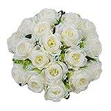 Warmiehomy Künstliche Blumen, Natur Seide Blumen Strauß aus 18Köpfe Fake Rosen für Hochzeit Bouquet, Partys, Garten, Home Weihnachten Dekoration weiß