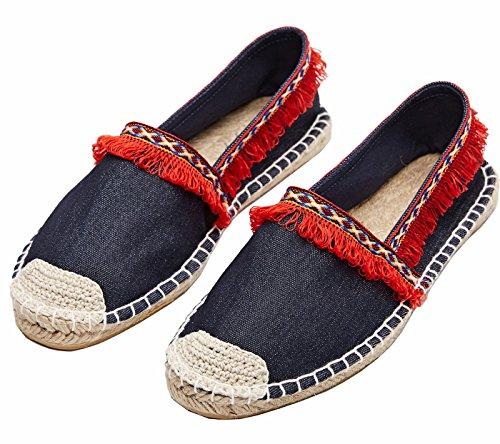 Alpercatas ons Sapatos Clássicos Loafer Slip Moer Borla Vermelho Chinelo Plana Senhoras gFSxfx