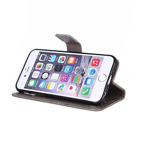 iPhone 6/6S Coque, Voguecase Étui en cuir synthétique chic avec fonction support pratique pour Apple iPhone 6/6S 4.7 (Fleurs et papillon II-Gris)de Gratuit stylet l'écran aléatoire universelle Fleurs et papillon II-Gris