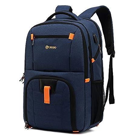 Bison Denim 17,3 Zoll Laptop Rucksack Unisex I 3 Fächer I Multifunktional Wasserdicht Wanderrucksack mit USB…