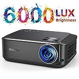 Proiettore Full HD 1080p a 6000 Lumen, LCD Videoproiettore Portatile Per Casa /Viaggio/Estero/Business, Compatibile Android / IOS / PS4 / TV Box/ Micro SD
