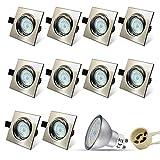 Eckig Einbaustrahler Set 10 x Einbauspot GU10 LED 5W 18PCS High Power LEDs SMD Edelstahl gebürstet Schwenkbar Einbaurahmen Naturalweiß Einbauleuchten Strahler
