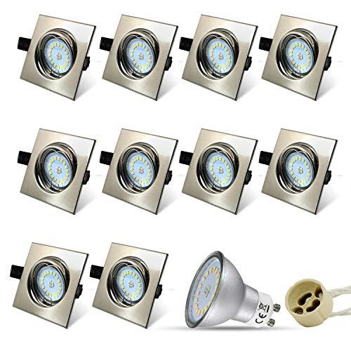 Eckig Einbaustrahler Set 10 x Einbauspot GU10 LED 5W 18PCS High Power LEDs SMD Edelstahl gebürstet Schwenkbar Einbaurahmen Naturalweiß Einbauleuchten Strahler -