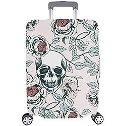 Cráneo de la Mano de Las Rosas del cráneo de la Vendimia Cubierta de la Maleta del Protector del Equipaje del Viaje de la Mano de Spandex 28.5 x 20.5 Pulgadas