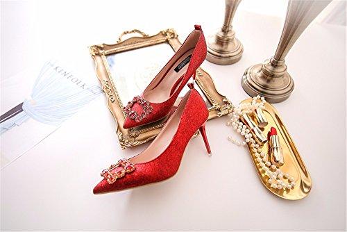 HXVU56546 La Nouvelle Astuce Amende Avec Chaussures Femmes Parti Brillant Des Liens Avec Les Chats Sauvages À Talon Haut Fashion The Red