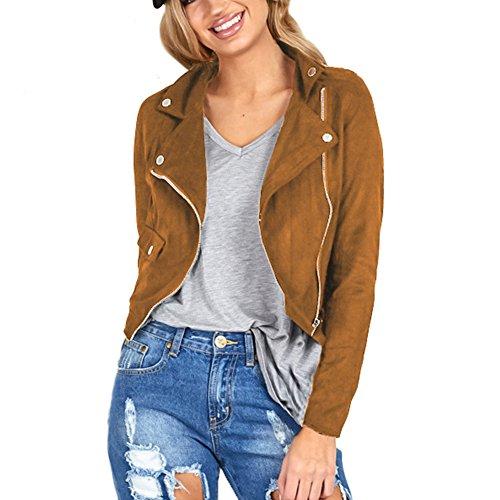 ropalia-vestes-femme-blazer-manteau-zip-blouson-courte-suede-col-rabattu-m-brun