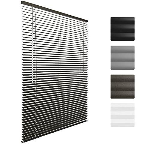 Sol Royal Store venitien en aluminium SolDecor J32 - Gris 70 x 130 cm - Montage simple sans vis - fixation inclus