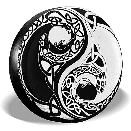 Hiram Cotton Spare Tire Cover Copriruota Ruota di Scorta Yin Yang Snake Veicolo Fuoristrada velocità Estrema Overdrive Univers