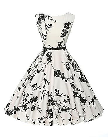 Robe de Cocktail Vintage à Fleurs Noires Robe Habillée Taille