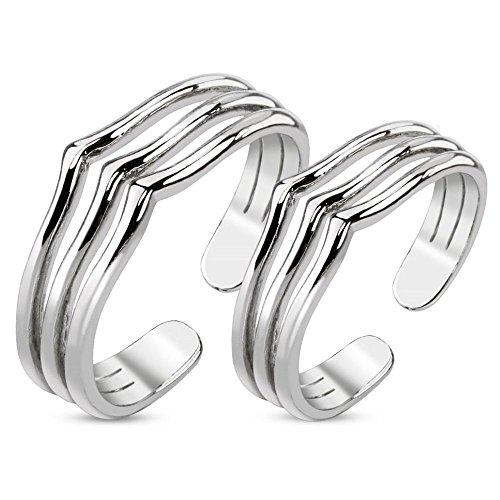 Bungsa® 1 Paar ZEHENRINGE drei Linien Mittelringe silber - 1 SET Rhodium platinierte, silberne ZEHRINGE - biegbarer Fussschmuck für Damen & Frauen - verstellbarer Fussring Toe-Ring Nail Ring