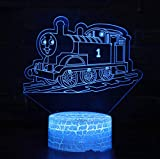 3D Luce Notturna, 3D Treno Forma Notte Luce USB Power Con Telecomando, Modalità Di Illuminazione Multiple, Lampada Da Comodino Per Bambini Luci D'umore
