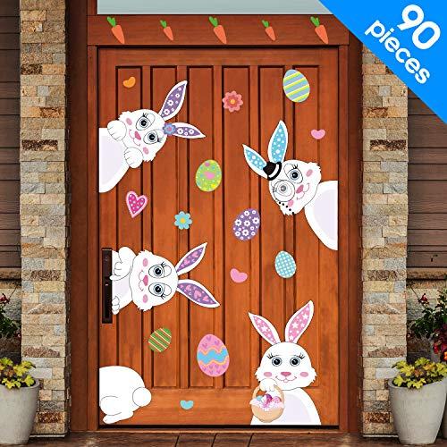 Meekoo 90 pezzi pasqua decorazioni pasqua coniglietto uova adesivi pasqua finestra adesivi coniglio decalcomanie pasqua porta pavimento finestra decor casa festa ornamenti