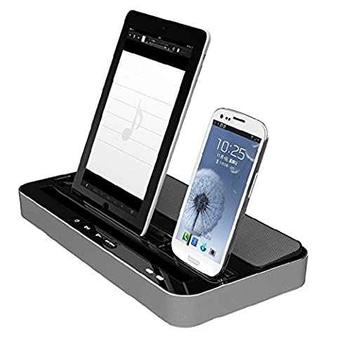 Dual Docking Station Charging and Stereo 2in1 Dock Station Charger Stand Speaker for iPhone iPad iPod Touch Mini Air and Samsung Galaxy Note HTC Android Smartphone
