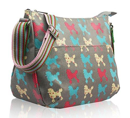 Kukubird vari Poodle farfalla fiori stelle polkadots pattern & Rainbow Strap Sling crossbody Messenger scuola palestra Bag Grey