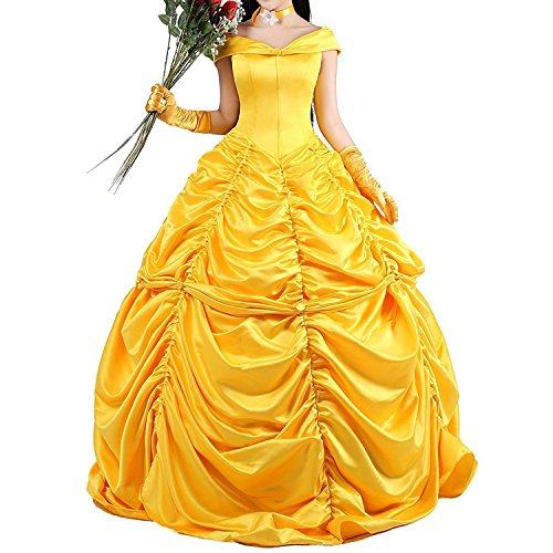 Halloween Prinzessin Kostüm Beauty and the Beast Kleid Faschingskleid Golden Cosplay Erwachsene (Und Das Erwachsene Für Uk Kostüme Die Biest Schöne)