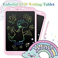 NEXGADGET Writing Tablet LCD 12 Inch Colorful Doodle Board Drawing Pad 2 batteries Reusable Erasable E-writer With Full Erase Mode, Lock Screen, Smart Stylus, Gift for Kids, Adults, Home, Office, etc.