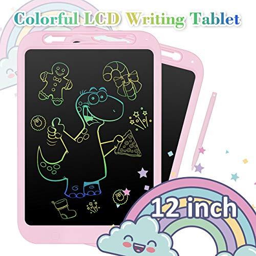 NEXGADGET Digitale Schreibtafel, LCD Schreibtafel 12 Zoll mit Anti-Clearance Funktion Writing Tabel für Schreiben Malen Notizen Geschenk für Kinder Mädchen Junge (mit Handschrift) - Rosa