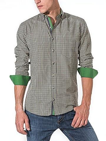 Karohemd von Vegea (VG0026LS) | Kariertes Hemd im Slim Fit Schnitt für Herren | Trendige Herrenmode für Freizeit und Büro | Bequeme und hochwertige Langarm-Shirts mit Karomuster | Größe S | Grün/Beige