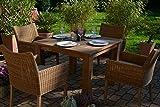 Teak Sitzgruppe Java-T Garten Garnitur Tisch (100x100) und 4 Sessel / Stühle Rattan und recyceltes Teak