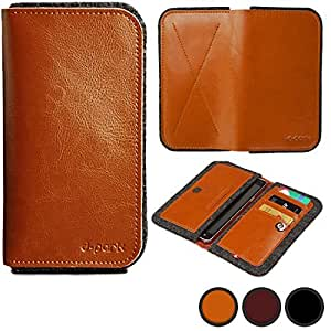 D-Park Universal Allview A5 Quad / H2 Qubo / Impera I Leather & Wool Felt Smartphone Wallet Case in Tan (Card Slots; Slip-Style Pockets; Magnetic Snap-Button Lock)