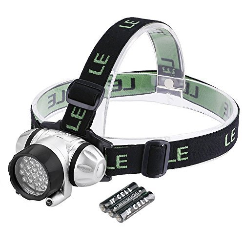 LE Super Bright 20 LED Headlamp Headlight,Battery Powered Helmet Light for Camping, Running, Hiking and Reading,4 Brightness Modes Outdoor Head Torch,3 AAA Batteries Included