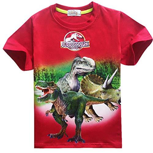 B urassic T-Shirt Boys Clothes Jurassic World Short Sleeve Kids Summer Dinosaur t Shirt Clothes Baby Boys Clothing 3-12Y red 9T