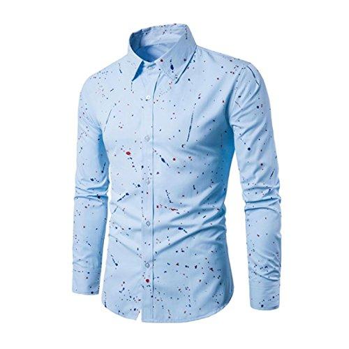 Hemd Herren Btruely Langarm Bluse Drucken T-Shirt Gedruckt Beiläufig Slim Fit Stilvoll Hemd (L, Blau)