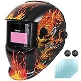 Yorbay Soldadores máscara de oscurecimiento automático de solar con 5 lentes de repuesto (fuego cráneo)