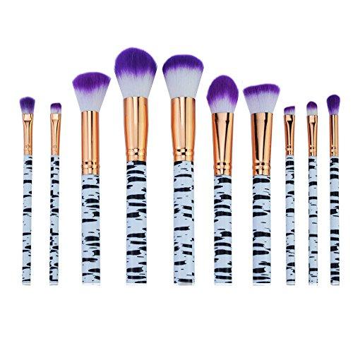 AKAAYUKO 10PCS Makeup Brush set Rayures de zèbre Cosmétique Fondation Beauté Maquillage Brosses -Violet blanc
