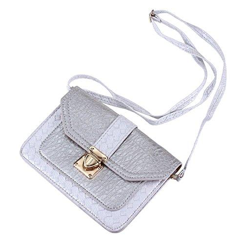 Damara Femme Sac Bandoulière PU Téléphone Bracelet Amovible Sac Porté Epaule Gris