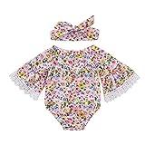 Lenfesh Kleinkind Baby Floral Flower Lace Print Strampler Haarband Bodysuit Kleidung Set Strampelhöschen Overall