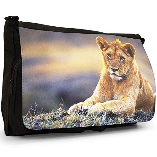 African Lion Big Cat-Borsa a tracolla in tela, colore: nero, Borsa a tracolla, per scuola, Borsa per computer portatile Nero (Lioness Relaxing)