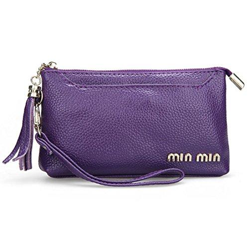 Borsa Da Polso In Pelle Borsa MEI Ms.,Black purple