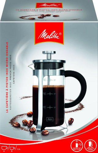 Melitta Cafetière à Piston en Verre Graduée, French Press, pour Café ou Thé, Récipient adapté au Micro-Onde, Acier Inoxydable, 1 L (8 Tasses), Premium, Inox