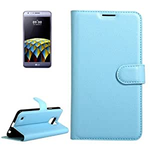 Crazy4Gadget For LG X Cam Litchi Texture Horizontal Flip Leather Case with Holder & Card Slots & Wallet(Blue)