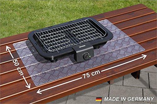 Paderbest24 Grillunterlage Bodenschutzmatte Transparent mit Riffelblechoptik 75x50cm