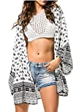 Uniquestyle Damen Sommer Boho Chiffon Kimono Stil Gedruckt Tops Jacke Cardigan Blusen Beachwear