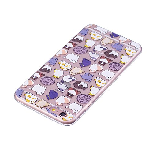 Custodia per iPhone 6S Plus 5.5,Silicone Cover per iPhone 6 Plus 5.5,Leeook Creativa Bello Carina Gatto Painted Design Ultra Sottile Morbida Transparent TPU Gel Cover Case Shock-Absorption Anti Sciv Gatto